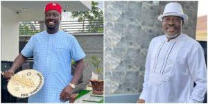 Obi Cubana Makes the Cross Sign as Kanayo O. Kanayo Rains Crisp N500 Notes on Him, Nigerians Reacts